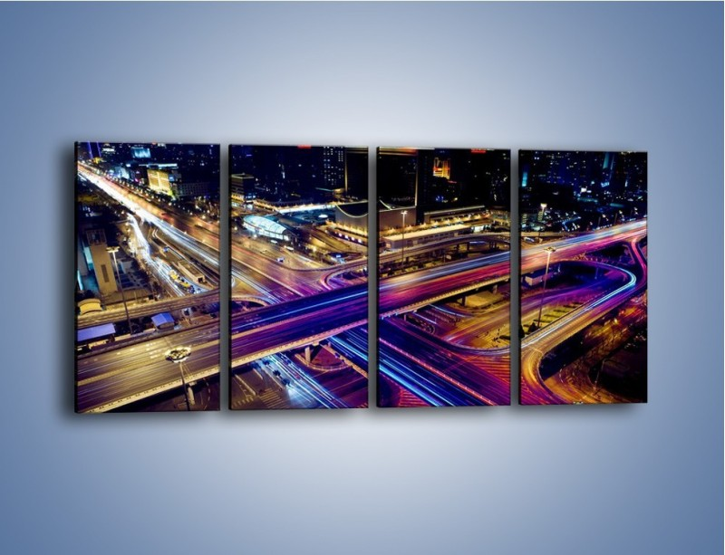Obraz na płótnie – Skrzyżowanie autostrad nocą w ruchu – czteroczęściowy AM087W1