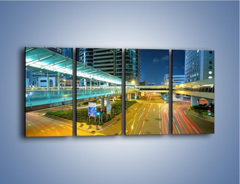 Obraz na płótnie – Droga na lotnisko w Japonii – czteroczęściowy AM088W1