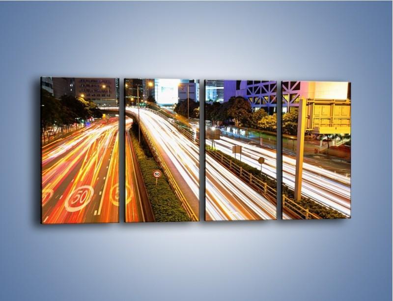 Obraz na płótnie – Ulice w ruchu w mieście – czteroczęściowy AM089W1