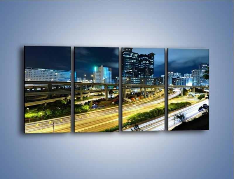 Obraz na płótnie – Przedmieście miasta wieczorem – czteroczęściowy AM091W1