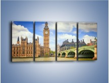 Obraz na płótnie – Big Ben w pochmurny dzień – czteroczęściowy AM095W1
