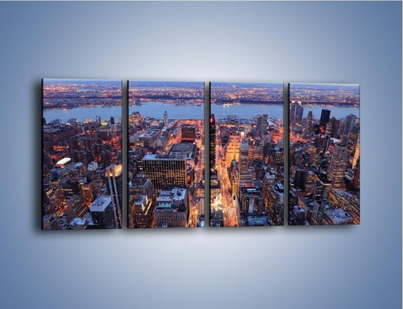 Obraz na płótnie – Budzące się ze snu miasto – czteroczęściowy AM097W1