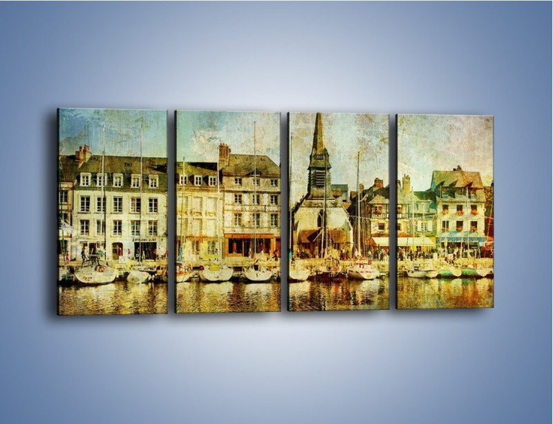 Obraz na płótnie – Łódki nad brzegiem miasteczka w stylu vintage – czteroczęściowy AM108W1