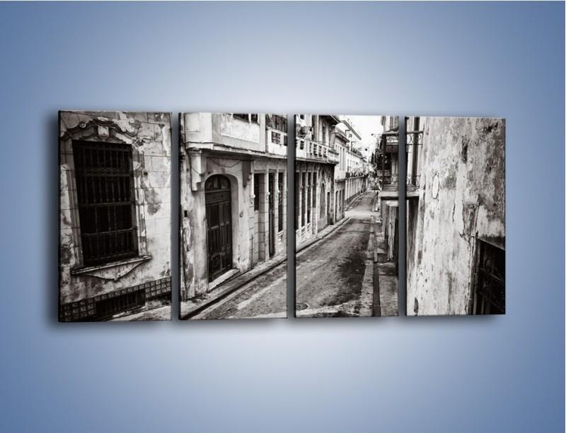 Obraz na płótnie – Urokliwa uliczka w starej części miasta – czteroczęściowy AM124W1