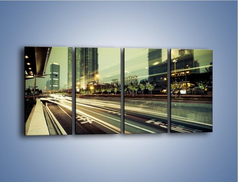 Obraz na płótnie – Uliczny ruch w świetle lamp w Tokyo – czteroczęściowy AM127W1
