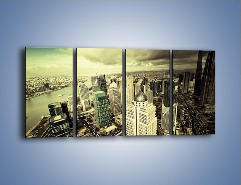 Obraz na płótnie – Ciemne chmury nad miastem – czteroczęściowy AM130W1