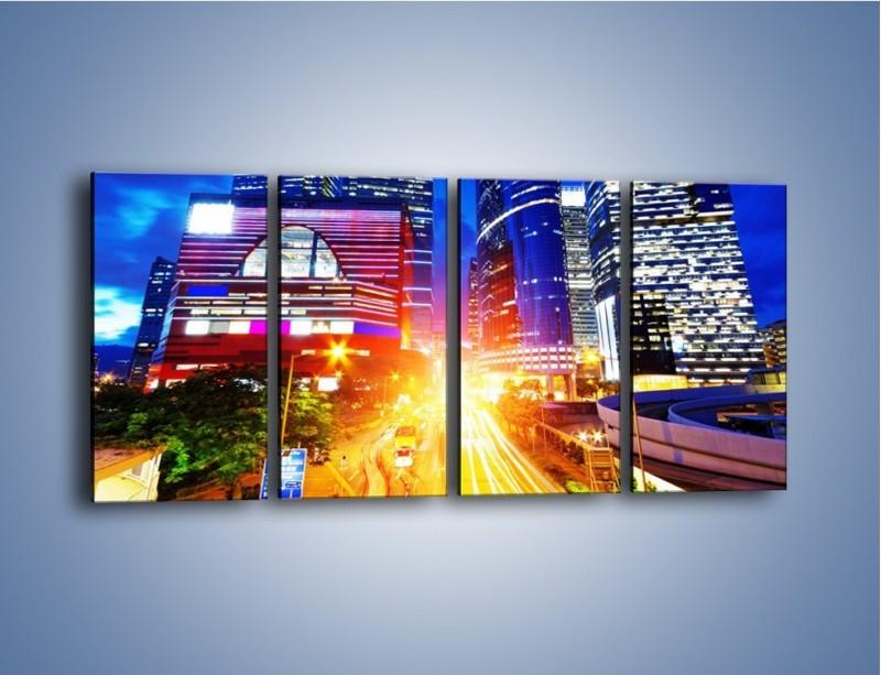 Obraz na płótnie – Miasto w żywych kolorach – czteroczęściowy AM131W1