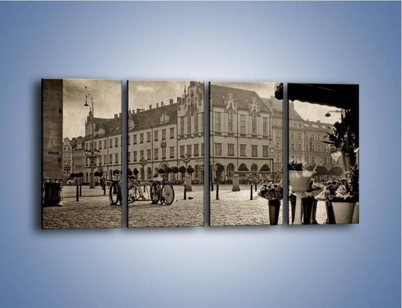 Obraz na płótnie – Rynek Starego Miasta w stylu vintage – czteroczęściowy AM138W1