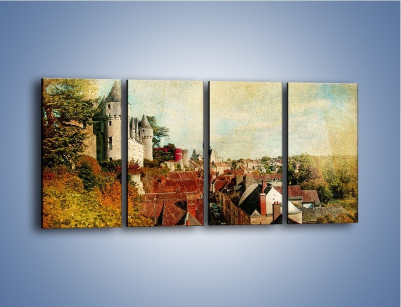 Obraz na płótnie – Zamek nad miasteczkiem w stylu vintage – czteroczęściowy AM142W1