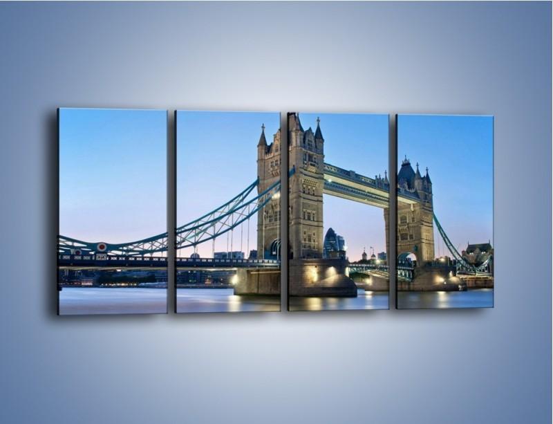 Obraz na płótnie – Tower Bridge o poranku – czteroczęściowy AM143W1