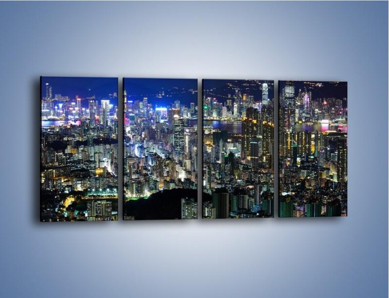Obraz na płótnie – Nocne światła w dużym mieście – czteroczęściowy AM144W1