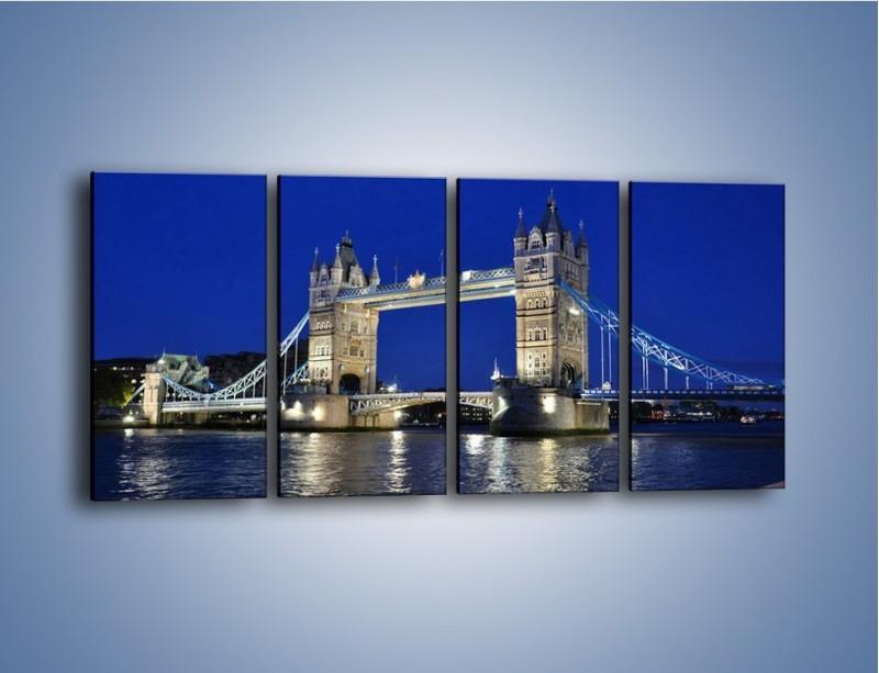 Obraz na płótnie – Tower Bridge nocą – czteroczęściowy AM145W1