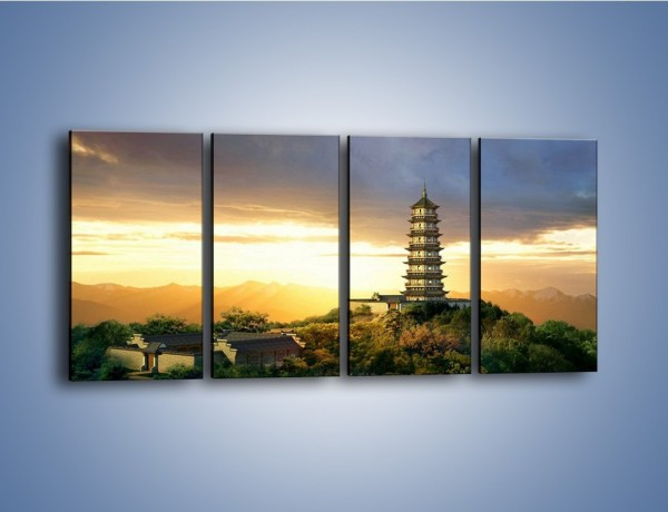 Obraz na płótnie – Azjatycka architektura o poranku – czteroczęściowy AM151W1