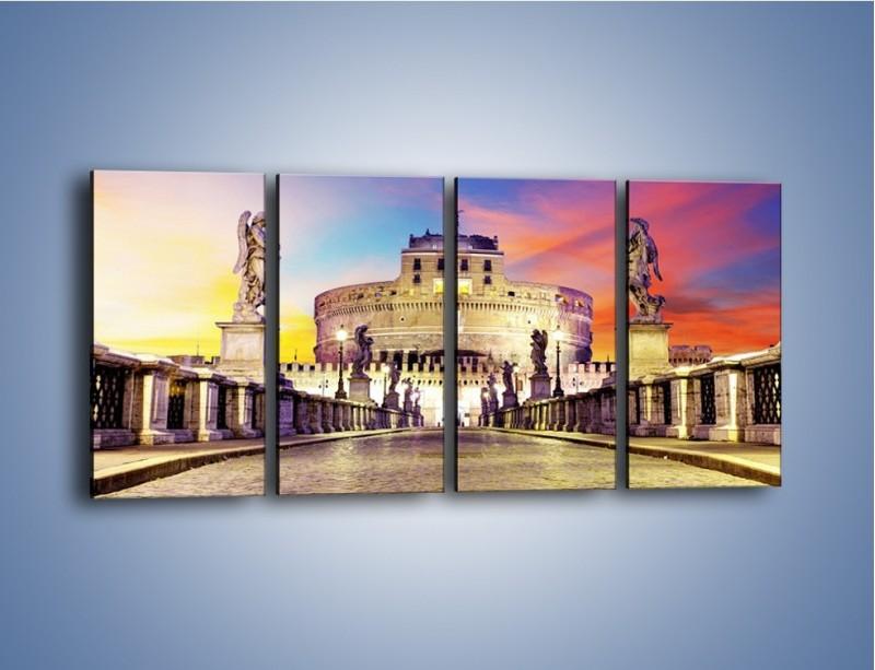 Obraz na płótnie – Zamek św. Anioła na tle kolorowego nieba – czteroczęściowy AM156W1