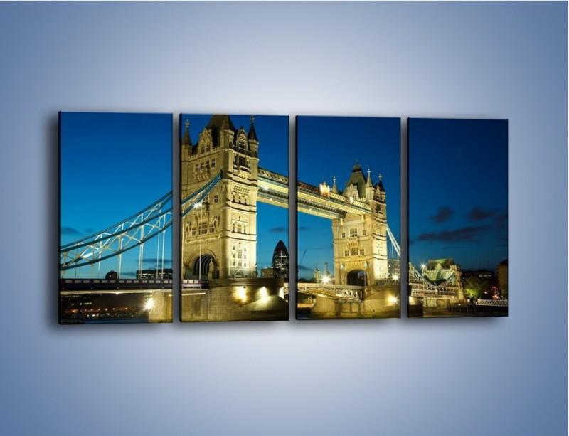 Obraz na płótnie – Tower Bridge wieczorową porą – czteroczęściowy AM159W1