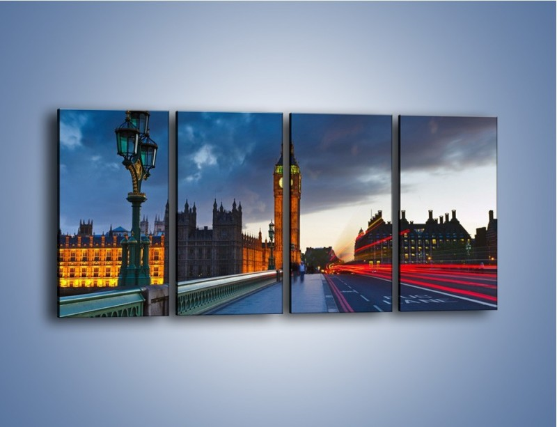 Obraz na płótnie – Big Ben świetle lamp – czteroczęściowy AM166W1