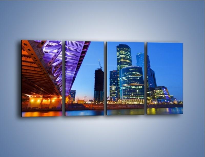 Obraz na płótnie – Kolorowy most nad rozświetloną rzeką – czteroczęściowy AM169W1