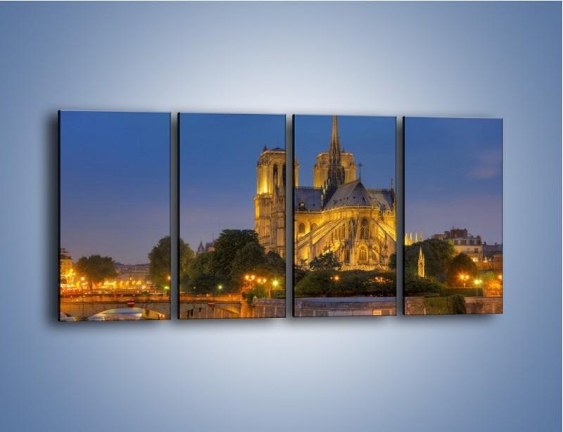 Obraz na płótnie – Kościół w świetle wieczornych lamp – czteroczęściowy AM170W1