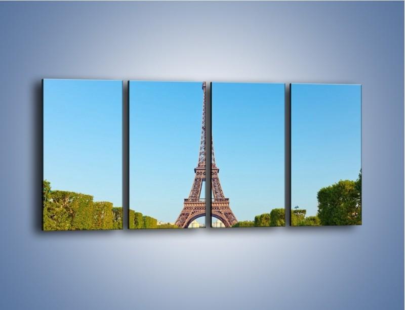 Obraz na płótnie – Wieża Eiffla pod błękitnym niebem – czteroczęściowy AM171W1