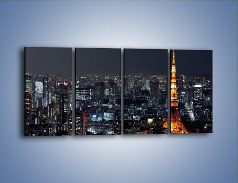 Obraz na płótnie – Rozświetlona Wieża Eiffla nocą – czteroczęściowy AM174W1