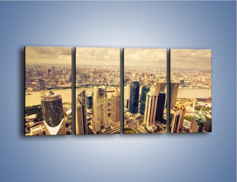 Obraz na płótnie – Miasto w pochmurny dzień – czteroczęściowy AM178W1