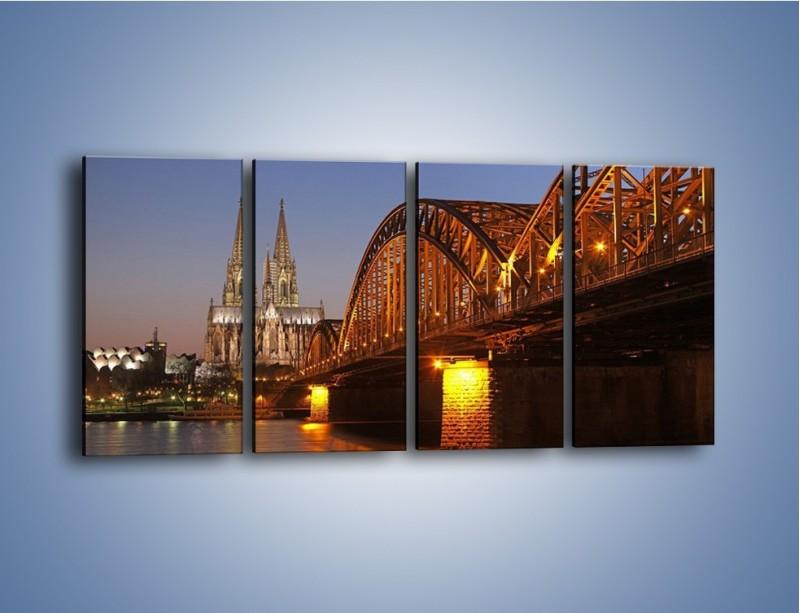 Obraz na płótnie – Most na tle kościoła – czteroczęściowy AM186W1