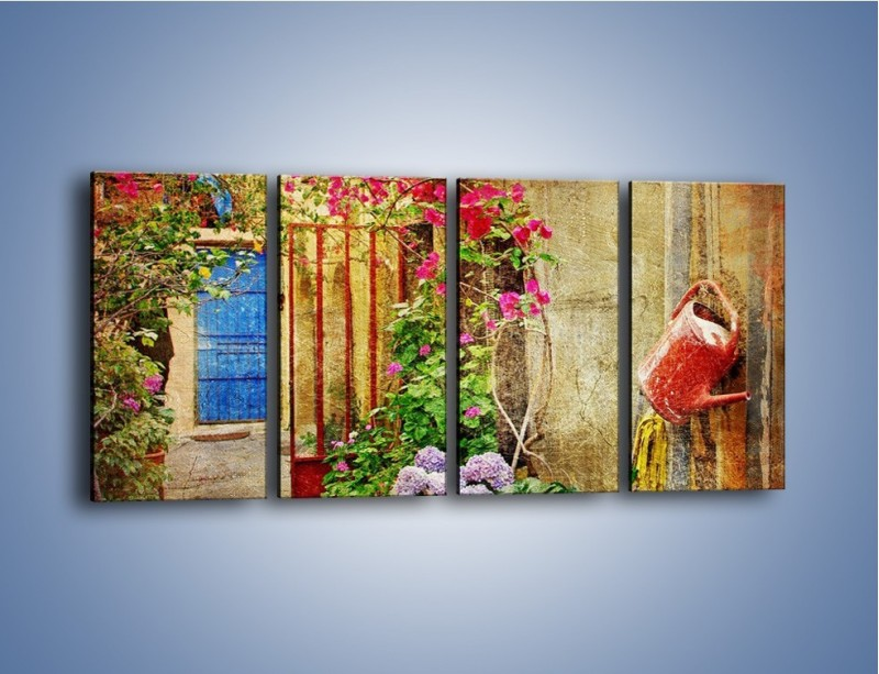 Obraz na płótnie – Mała uliczka w Grecji vintage – czteroczęściowy AM191W1
