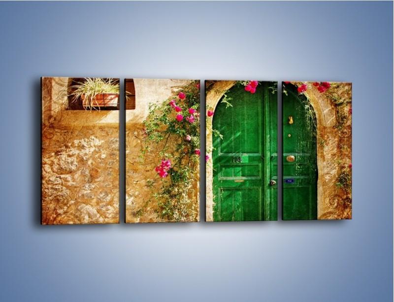 Obraz na płótnie – Drzwi w greckim domu vintage – czteroczęściowy AM192W1