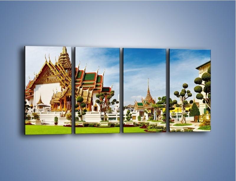 Obraz na płótnie – Tajska architektura pod błękitnym niebem – czteroczęściowy AM197W1