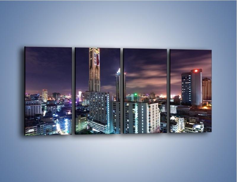 Obraz na płótnie – Duże miasto nocą – czteroczęściowy AM202W1