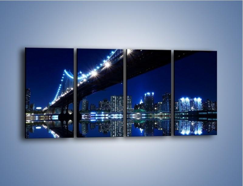 Obraz na płótnie – Oświetlony most w odbiciu wody – czteroczęściowy AM211W1