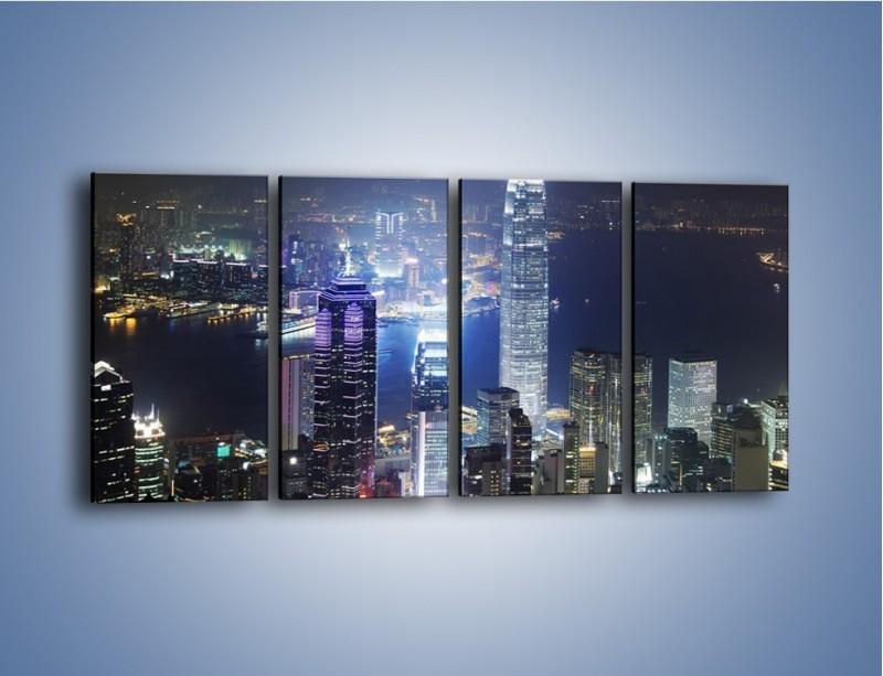 Obraz na płótnie – Miasto oświetlone nocą – czteroczęściowy AM223W1