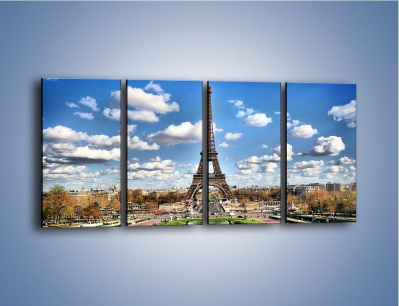 Obraz na płótnie – Wieża Eiffla w pochmurny dzień – czteroczęściowy AM227W1