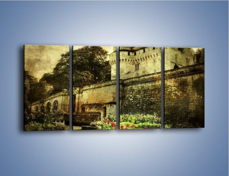 Obraz na płótnie – Zamek w stylu vintage – czteroczęściowy AM234W1