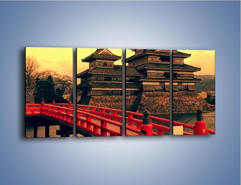 Obraz na płótnie – Japońska architektura – czteroczęściowy AM235W1