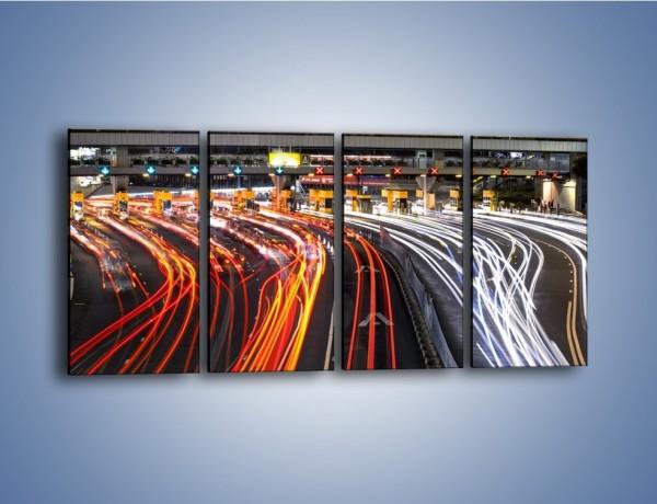Obraz na płótnie – Autostradowa bramka w ruchu świateł – czteroczęściowy AM236W1