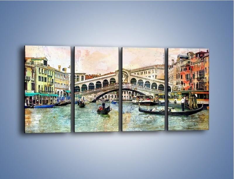 Obraz na płótnie – Wenecja w stylu vintage – czteroczęściowy AM239W1