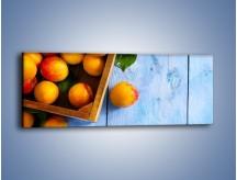 Obraz na płótnie – Brzoskwinie w drewnianej skrzyni – jednoczęściowy panoramiczny JN404