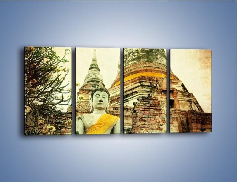 Obraz na płótnie – Tybetańska architektura w stylu vintage – czteroczęściowy AM247W1