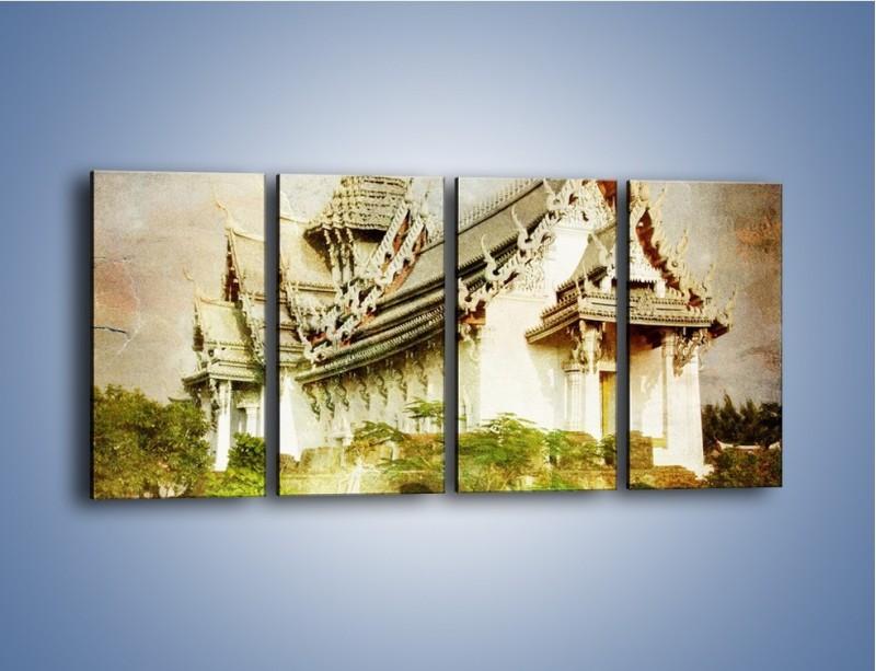 Obraz na płótnie – Dalekowschodnia architektura vintage – czteroczęściowy AM248W1