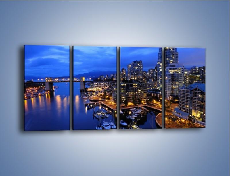 Obraz na płótnie – Port na jachty w mieście nocą – czteroczęściowy AM250W1
