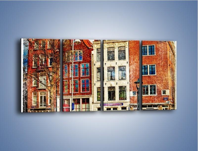 Obraz na płótnie – Amsterdam w stylu vintage – czteroczęściowy AM258W1