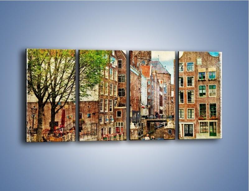 Obraz na płótnie – Kanał w Amsterdamie vintage – czteroczęściowy AM259W1