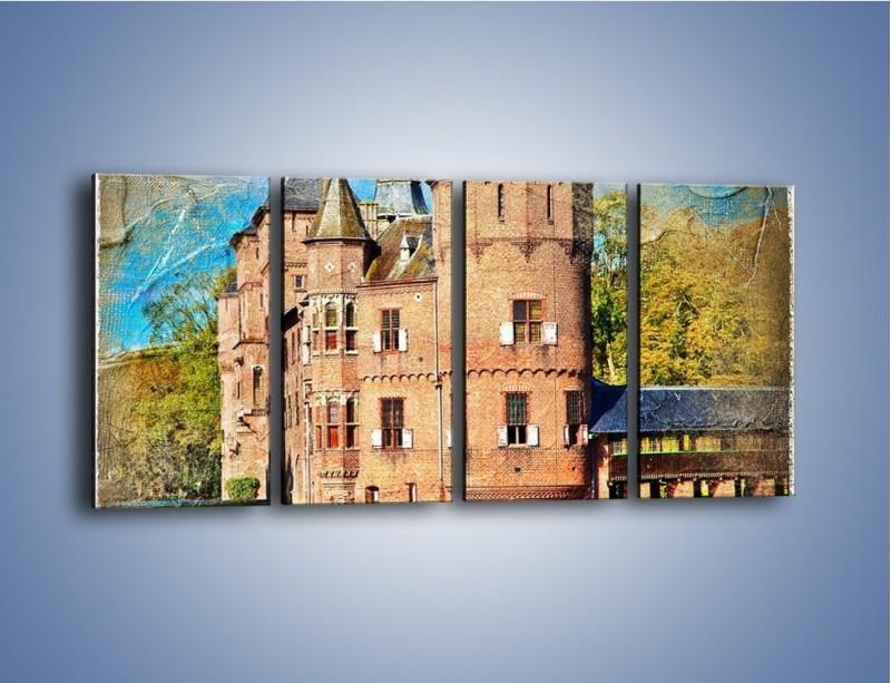 Obraz na płótnie – Zamek nad wodą w stylu vintage – czteroczęściowy AM262W1