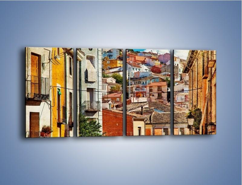 Obraz na płótnie – Kolorowe domki na wzgórzu vintage – czteroczęściowy AM264W1