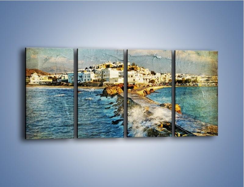 Obraz na płótnie – Grecka dróżka przez wodę vintage – czteroczęściowy AM268W1