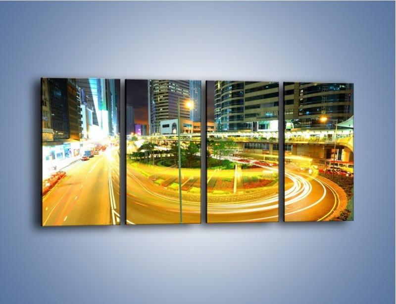 Obraz na płótnie – Światła samochodów w ruchu – czteroczęściowy AM280W1