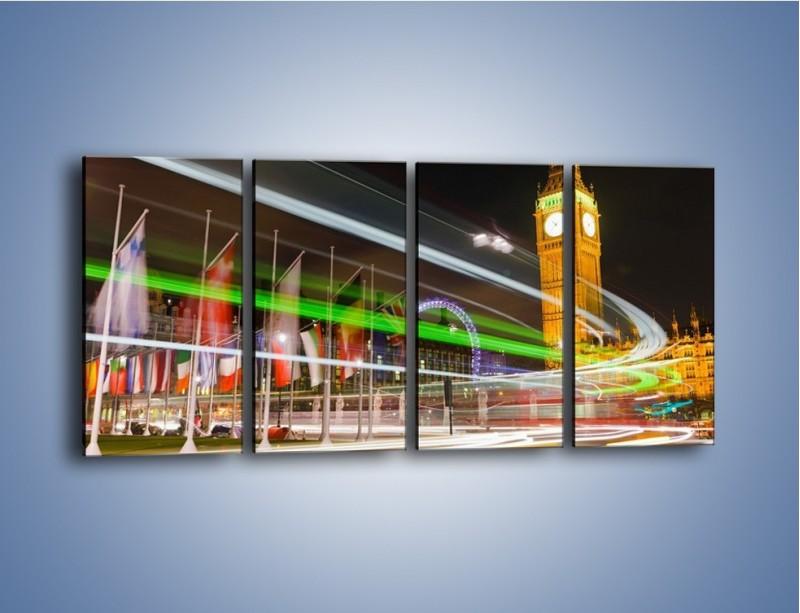 Obraz na płótnie – Światła samochodów na tle Big Bena – czteroczęściowy AM283W1