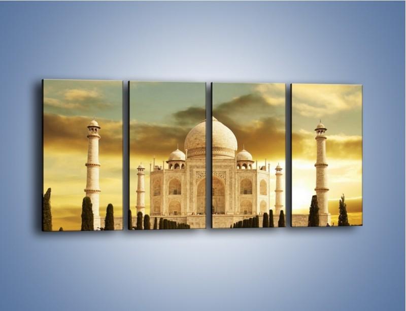 Obraz na płótnie – Tadź Mahal o zachodzie słońca – czteroczęściowy AM285W1