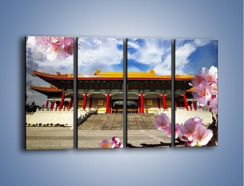 Obraz na płótnie – Azjatycka architektura z kwiatami – czteroczęściowy AM298W1